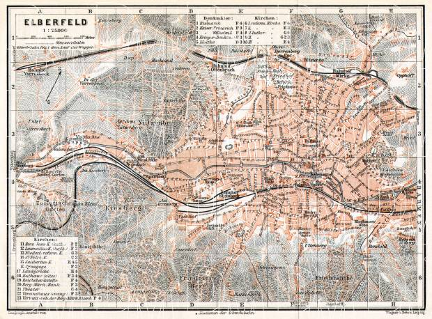 Elberfeld (now part of Wuppertal) city map, 1906. Use the zooming tool to explore in higher level of detail. Obtain as a quality print or high resolution image