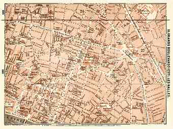Central Paris districts map: Grands Boulevards and Les Halles, 1903