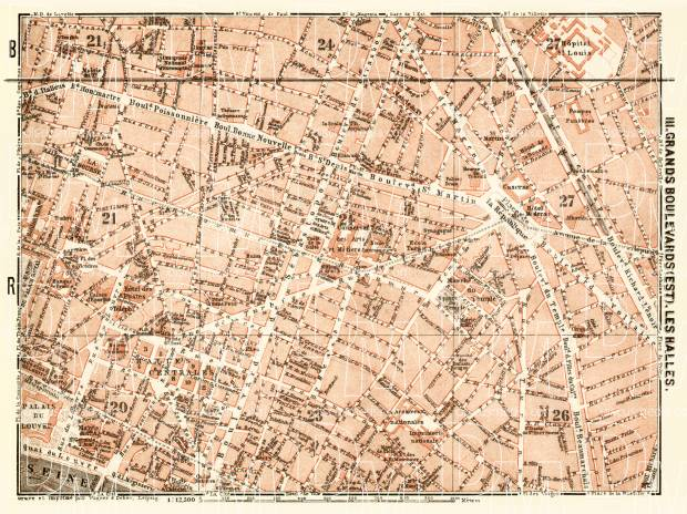 Old Map Of Grands Boulevards And Les Halles In Paris In 1903 Buy