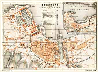 Cherbourg city map, 1910