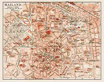 Milan (Milano), city centre map, 1913