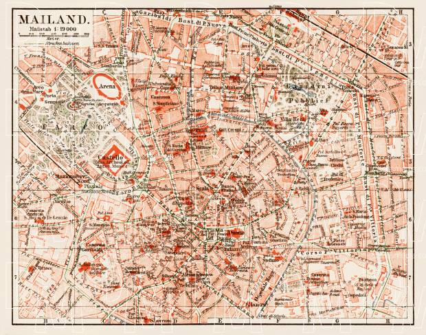 Milan (Milano), city centre map, 1913. Use the zooming tool to explore in higher level of detail. Obtain as a quality print or high resolution image