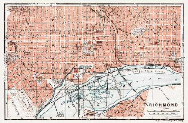 Old map of Richmond in 1909 Buy vintage map replica poster print or