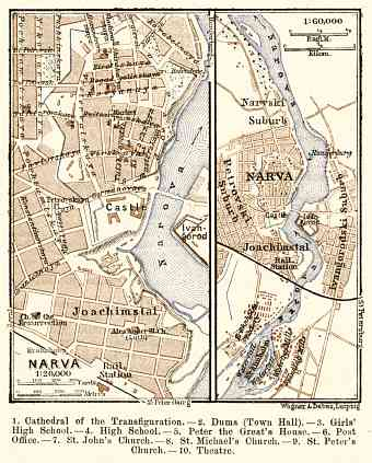 Narva city map, 1914 (with Ivangorod map)