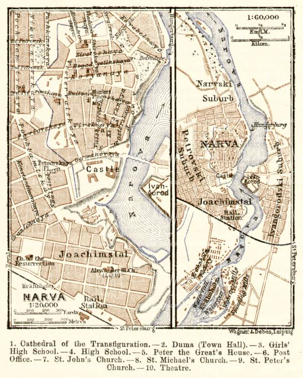 Narva city map, 1914 (with Ivangorod map). Use the zooming tool to explore in higher level of detail. Obtain as a quality print or high resolution image