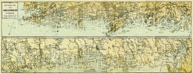 Finland. Map of the south shores from Viipuri to Turku (in Russian), 1889. Use the zooming tool to explore in higher level of detail. Obtain as a quality print or high resolution image