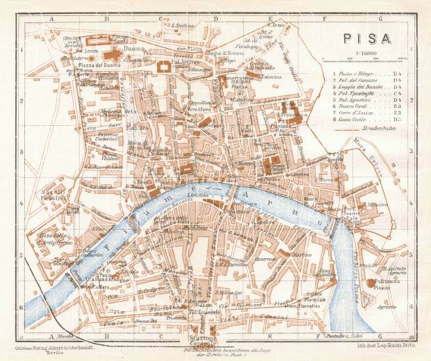 Pisa city map, 1929. Use the zooming tool to explore in higher level of detail. Obtain as a quality print or high resolution image