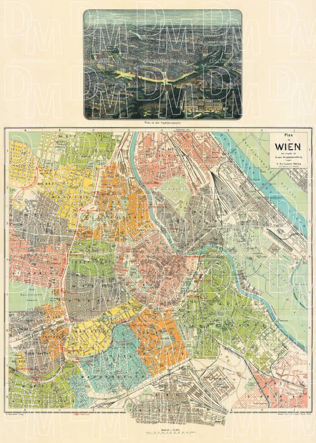 Vienna (Wien) city map, 1912. Use the zooming tool to explore in higher level of detail. Obtain as a quality print or high resolution image