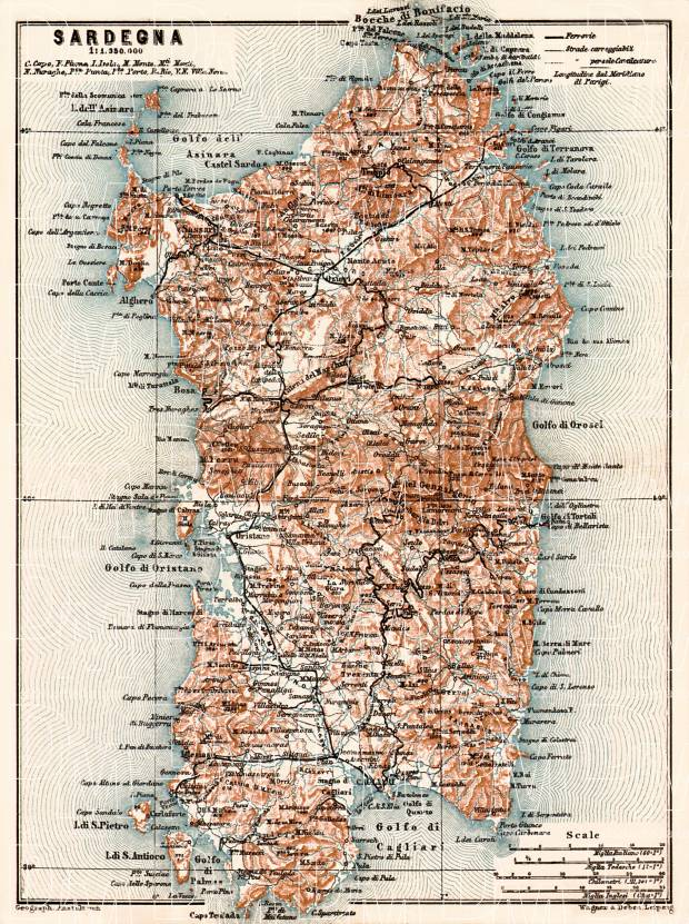 Sardinia (Sardegna) Isle map, 1913. Use the zooming tool to explore in higher level of detail. Obtain as a quality print or high resolution image