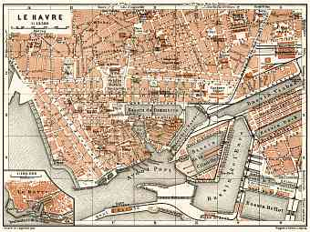 Le Havre city map, 1913