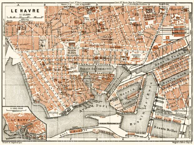 Le Havre city map, 1913. Use the zooming tool to explore in higher level of detail. Obtain as a quality print or high resolution image