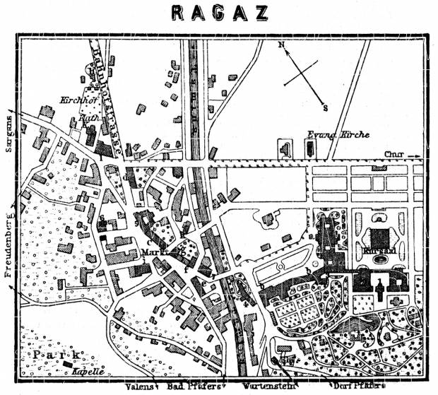 Bad Ragaz (Ragatz) map, 1897. Use the zooming tool to explore in higher level of detail. Obtain as a quality print or high resolution image
