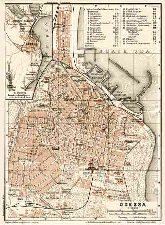 Odessa (Одесса, Odesa) city map, 1914