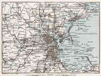 Map of the Environs of Boston, 1909