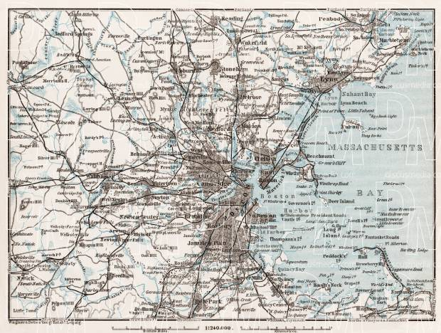 Map of the Environs of Boston, 1909. Use the zooming tool to explore in higher level of detail. Obtain as a quality print or high resolution image