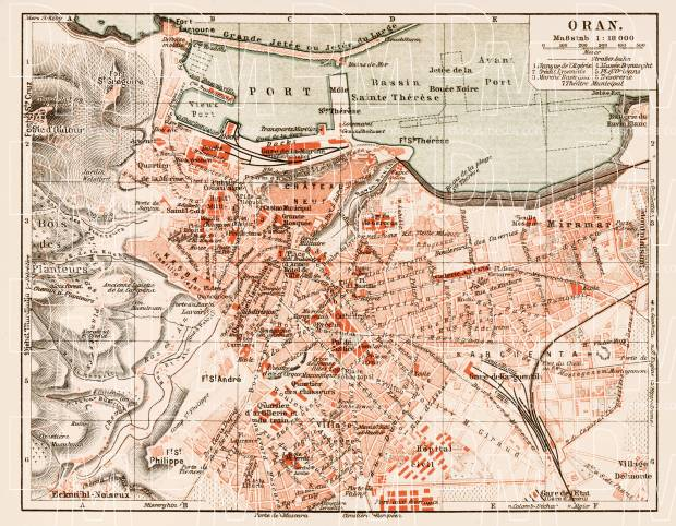 Oran (وهران) city map, 1913. Use the zooming tool to explore in higher level of detail. Obtain as a quality print or high resolution image
