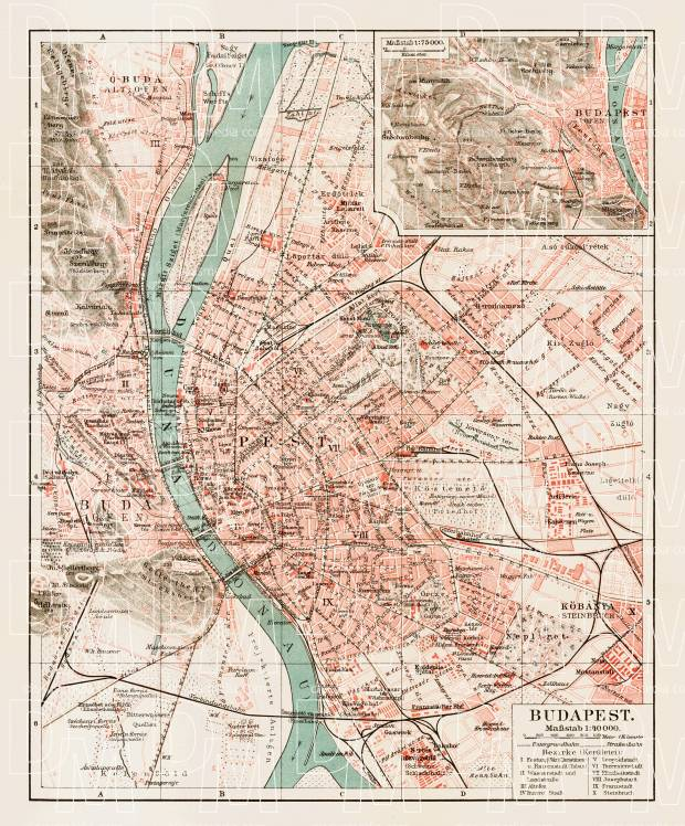 Budapest and its environs map, 1903. Use the zooming tool to explore in higher level of detail. Obtain as a quality print or high resolution image