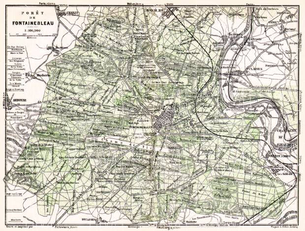 Forest of Fontainebleau (Forêt de Fontainebleau) and Town of Fontainebleau map, 1931. Use the zooming tool to explore in higher level of detail. Obtain as a quality print or high resolution image