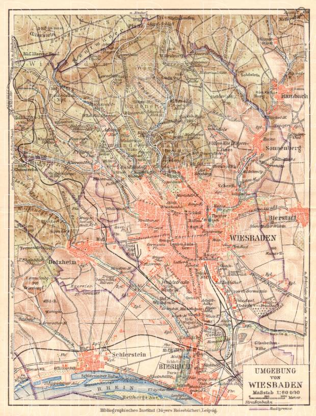 Wiesbaden environs map, 1927. Use the zooming tool to explore in higher level of detail. Obtain as a quality print or high resolution image
