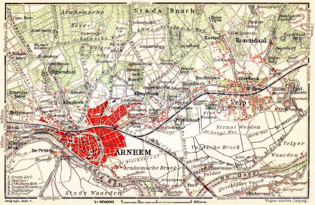 Arnhem and environs map, 1904. Use the zooming tool to explore in higher level of detail. Obtain as a quality print or high resolution image