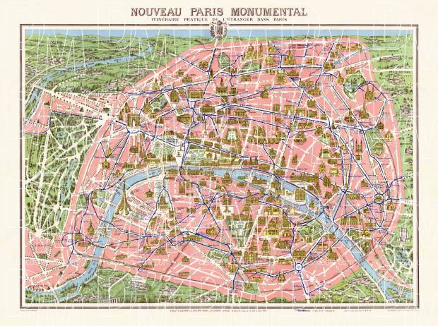 Old Map Of Paris Pictorial In 1910 Buy Vintage Map Replica Poster