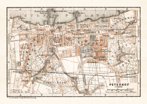 Peterhof (Петергофъ) town plan, 1914. Use the zooming tool to explore in higher level of detail. Obtain as a quality print or high resolution image