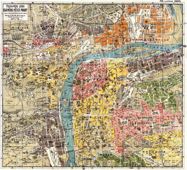 Prague (Praha) city map, 1924. Use the zooming tool to explore in higher level of detail. Obtain as a quality print or high resolution image