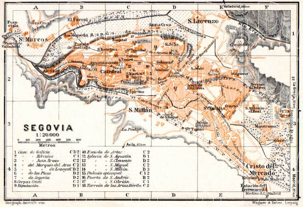 Old map of Segovia in 1929 Buy vintage map replica poster print or
