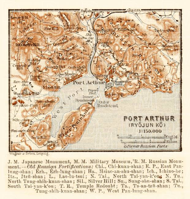 Port Artur (旅順口區, Lüshunkou) and suburbs map, 1914. Use the zooming tool to explore in higher level of detail. Obtain as a quality print or high resolution image