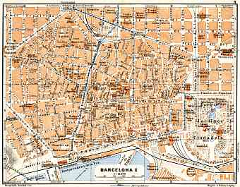 Barcelona central part map, 1929