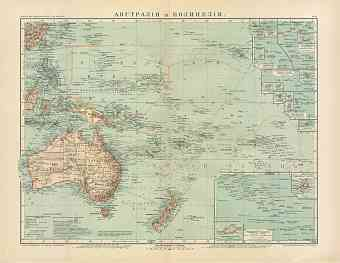 Australia and Polynesia Map (in Russian), 1910