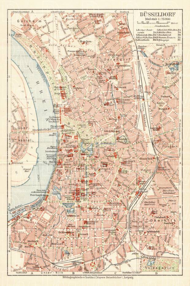Düsseldorf city map, 1927. Use the zooming tool to explore in higher level of detail. Obtain as a quality print or high resolution image