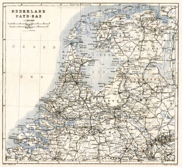 The Netherlands, general map, 1909. Use the zooming tool to explore in higher level of detail. Obtain as a quality print or high resolution image