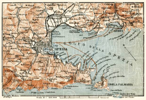 Spezia, environs map, 1913. Use the zooming tool to explore in higher level of detail. Obtain as a quality print or high resolution image