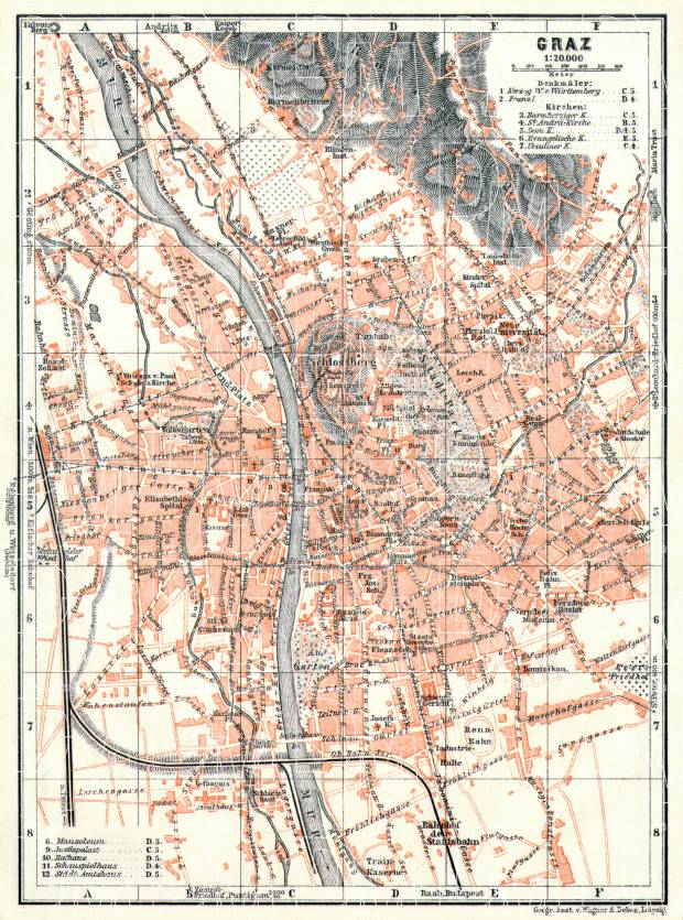 Old map of Graz in 1913 Buy vintage map replica poster print or