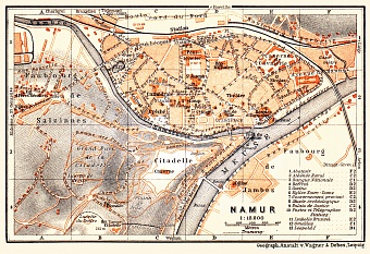 Namur city map, 1904