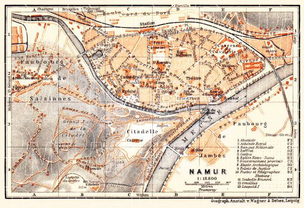 Namur city map, 1904. Use the zooming tool to explore in higher level of detail. Obtain as a quality print or high resolution image