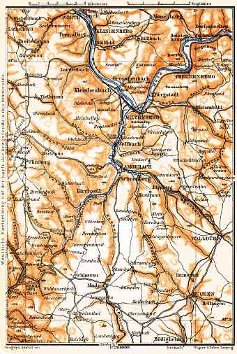 East Odenwald map, 1905