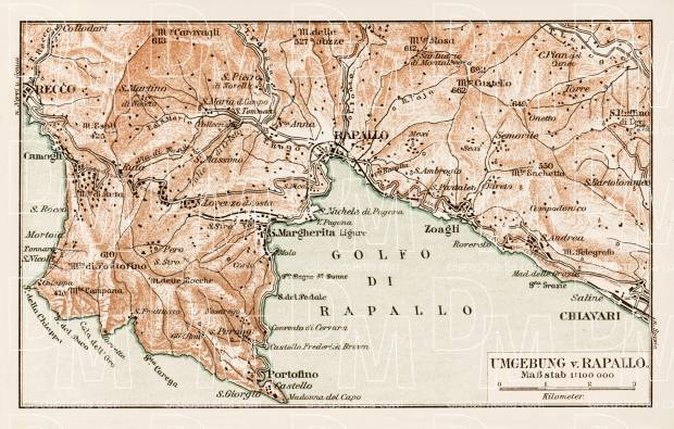 Map of the environs of Rapallo, 1903. Use the zooming tool to explore in higher level of detail. Obtain as a quality print or high resolution image