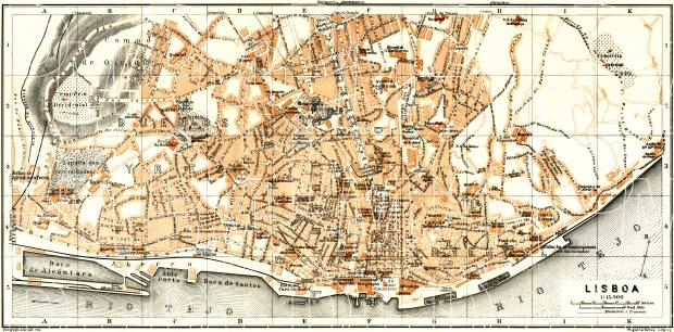 Lisbon (Lisboa) city map, 1929. Use the zooming tool to explore in higher level of detail. Obtain as a quality print or high resolution image