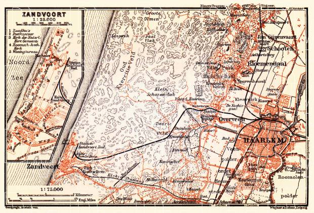 Old map of the vicinity of Haarlem with Zandvoort in 1904. Buy ...