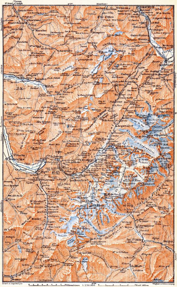 Chamonix and Sixt Valleys map, 1900. Use the zooming tool to explore in higher level of detail. Obtain as a quality print or high resolution image