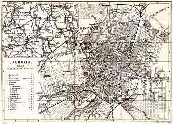 Chemnitz city map. Environs of Chemnitz map, 1887