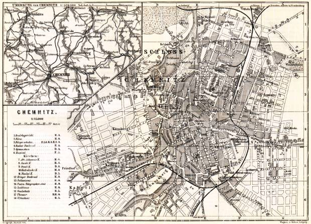 Chemnitz city map. Environs of Chemnitz map, 1887. Use the zooming tool to explore in higher level of detail. Obtain as a quality print or high resolution image