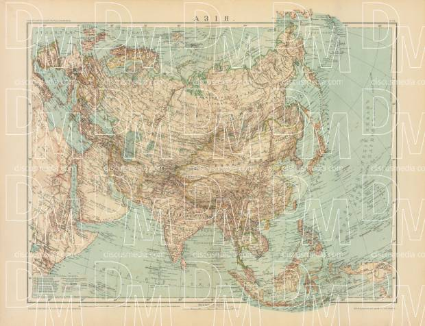 Asia General Map (in Russian), 1910. Use the zooming tool to explore in higher level of detail. Obtain as a quality print or high resolution image
