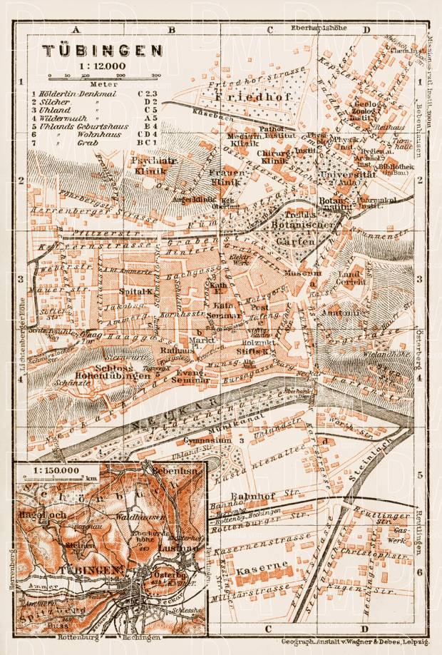 tbingen city map 1909 use the zooming tool to explore in higher level of