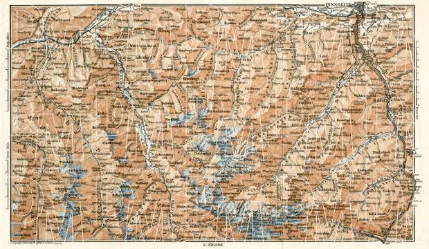 Stubai Alps (Stubaier Alpen) map, 1906. Use the zooming tool to explore in higher level of detail. Obtain as a quality print or high resolution image