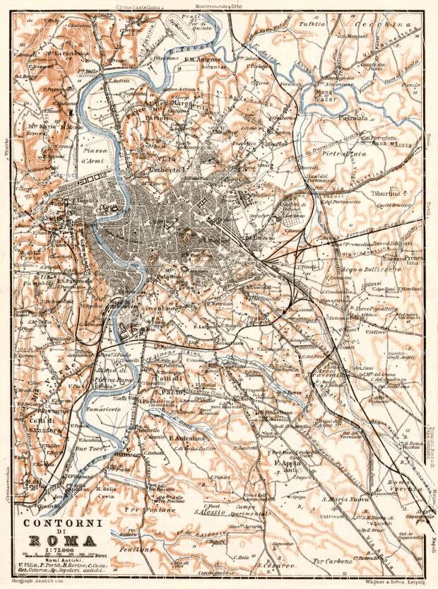 Rome (Roma) environs map, 1909. Use the zooming tool to explore in higher level of detail. Obtain as a quality print or high resolution image