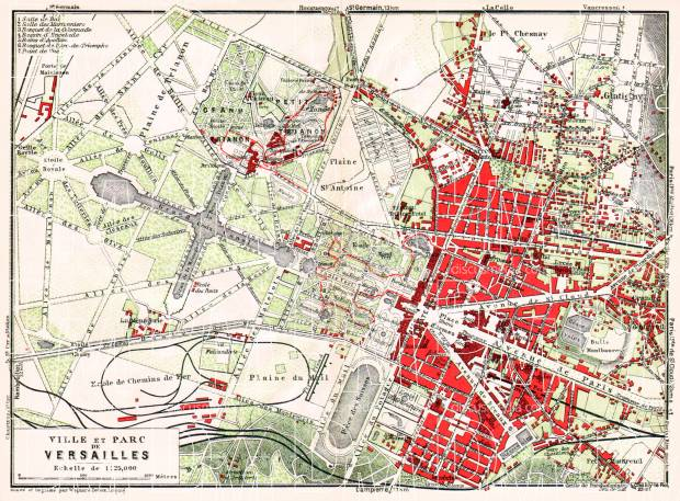 Versailles city and park map, 1931. Use the zooming tool to explore in higher level of detail. Obtain as a quality print or high resolution image