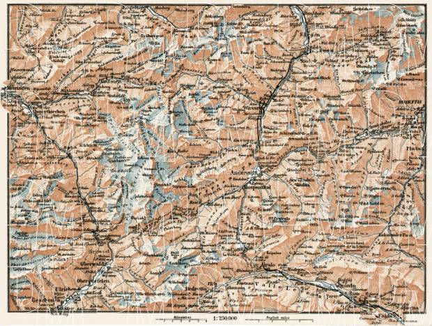 St. Gotthard environs map, 1909. Use the zooming tool to explore in higher level of detail. Obtain as a quality print or high resolution image